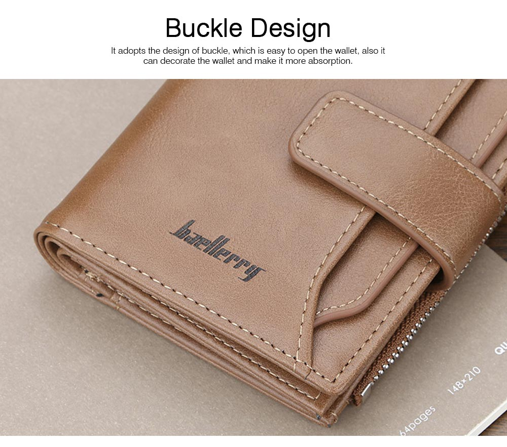 Trifold Business Leather Men's Wallet with Zipper, Multi-function Short Purse Slim Male Money Multi-card Positions Coin Leather Wallet for Men 6