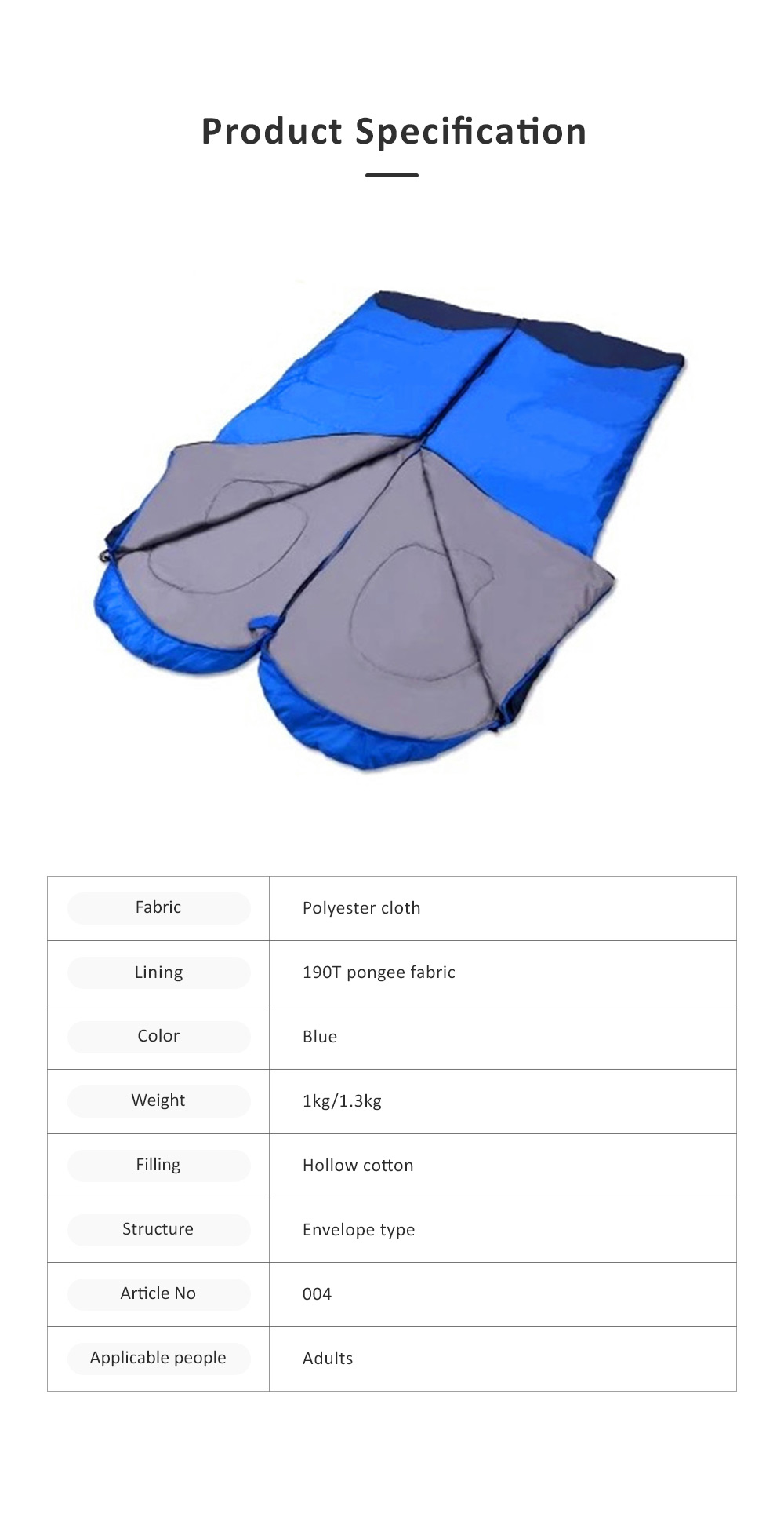 Portable Sleeping Sack Camping Equipment, Thicken Thermal High Quality Outdoor Bedding, One Kilogram Sleeping Bag for Adults 5