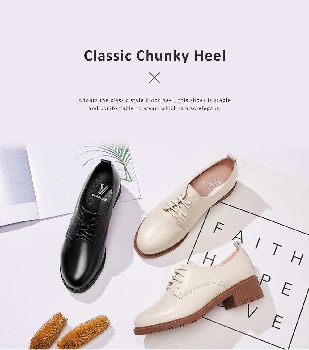 Leisure Leather Low Heel Shoes, Top PU Leather Material Thick Heel Shoes, Oxford Sole Women Shoes 2019 Spring 2