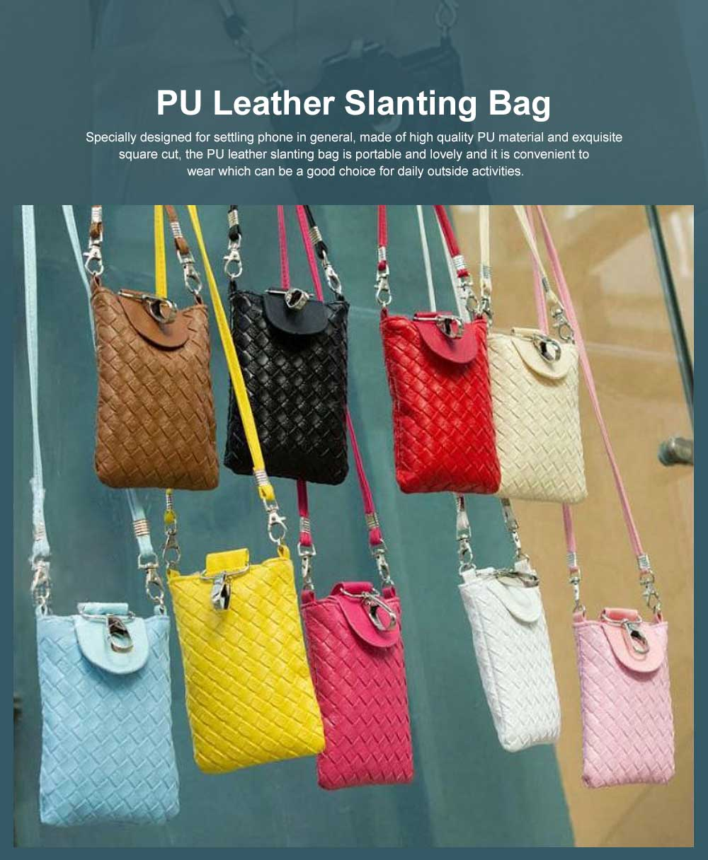 Mini Diagonal Mobile Phone Shoulder Bag, Woven PU Leather Small Slanting Bag for Phone, Cash, Card, Coins, Mini Casual Shoulder Bag 0