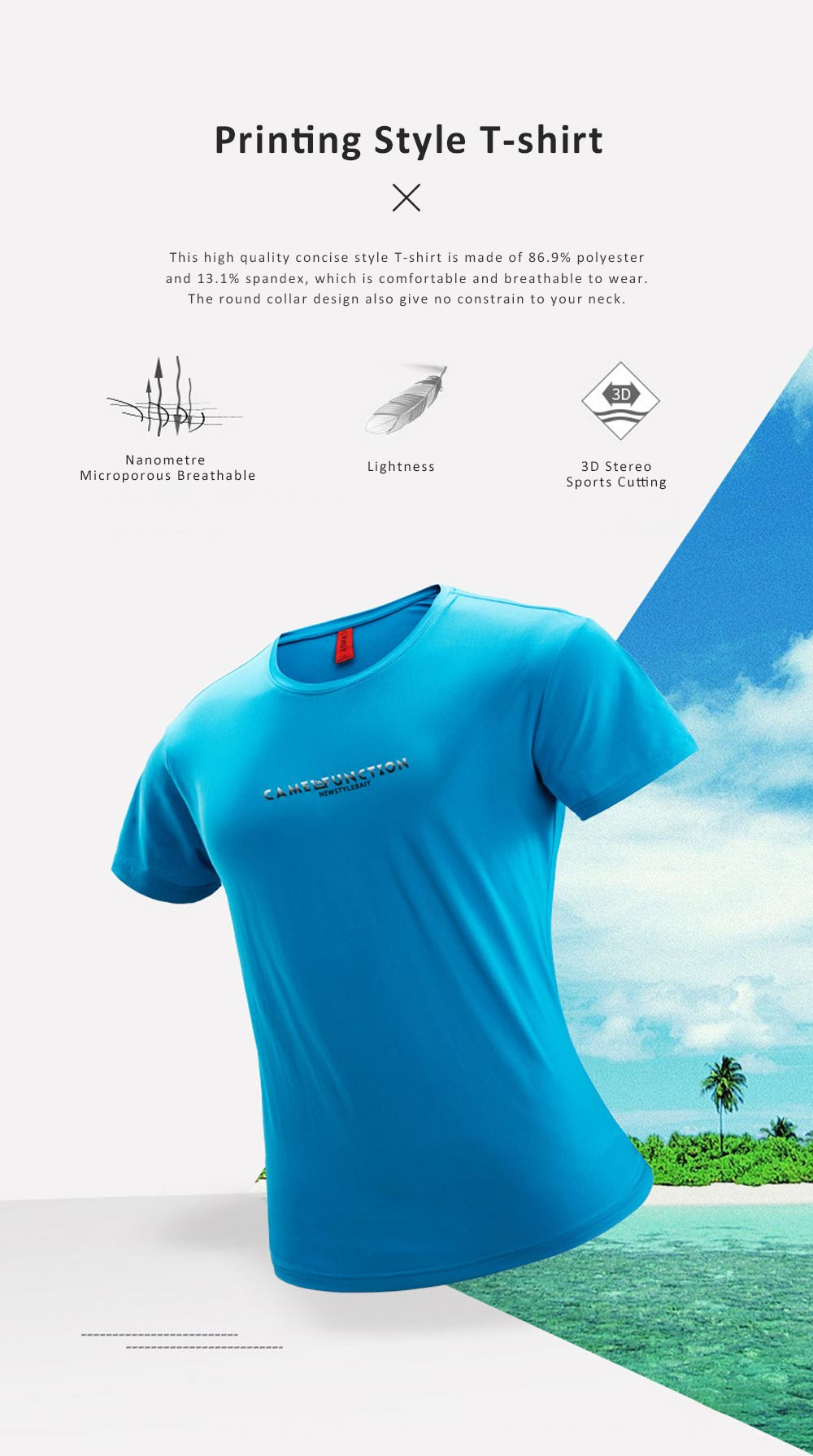 2019 Latest Concise Style Summer T-shirt for Men, High Quality Leisure Printing Round Collar Shirt for Youth 0