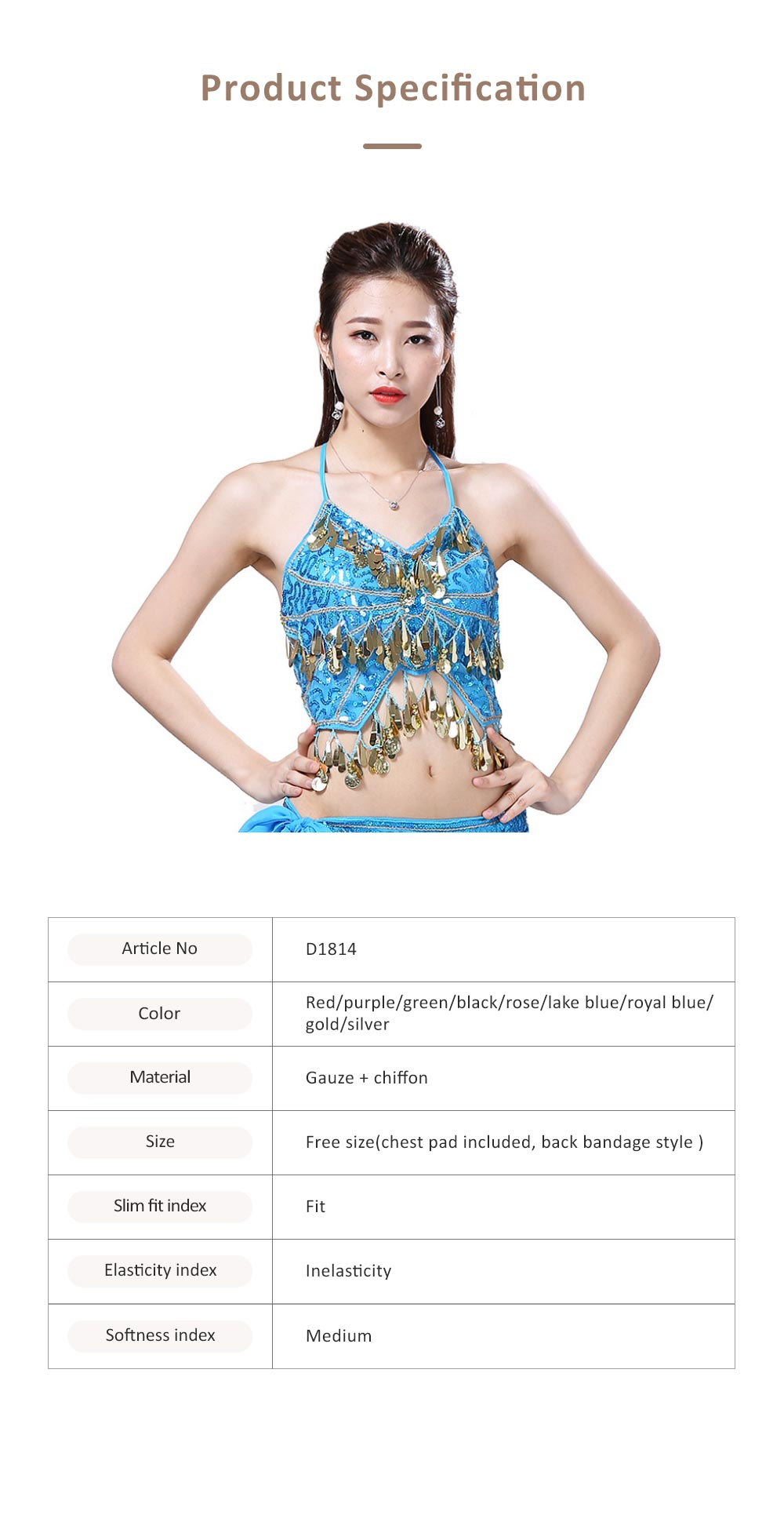 Belly Dance Uniform Camisole with Paillette, Nine Colors Sexy V Neck Bandage Sling Top Bar Performing Clothes 6