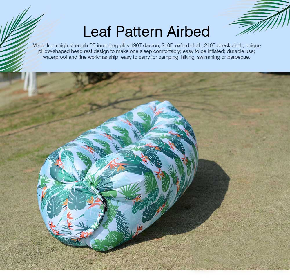 Leaf Pattern Printed Fast Inflatable Sofa Airbed for Outdoor Activity, Lazy Men Air Sofa Inflatable Couch Nap Airbed, Folded Portable Air Mattresses 0