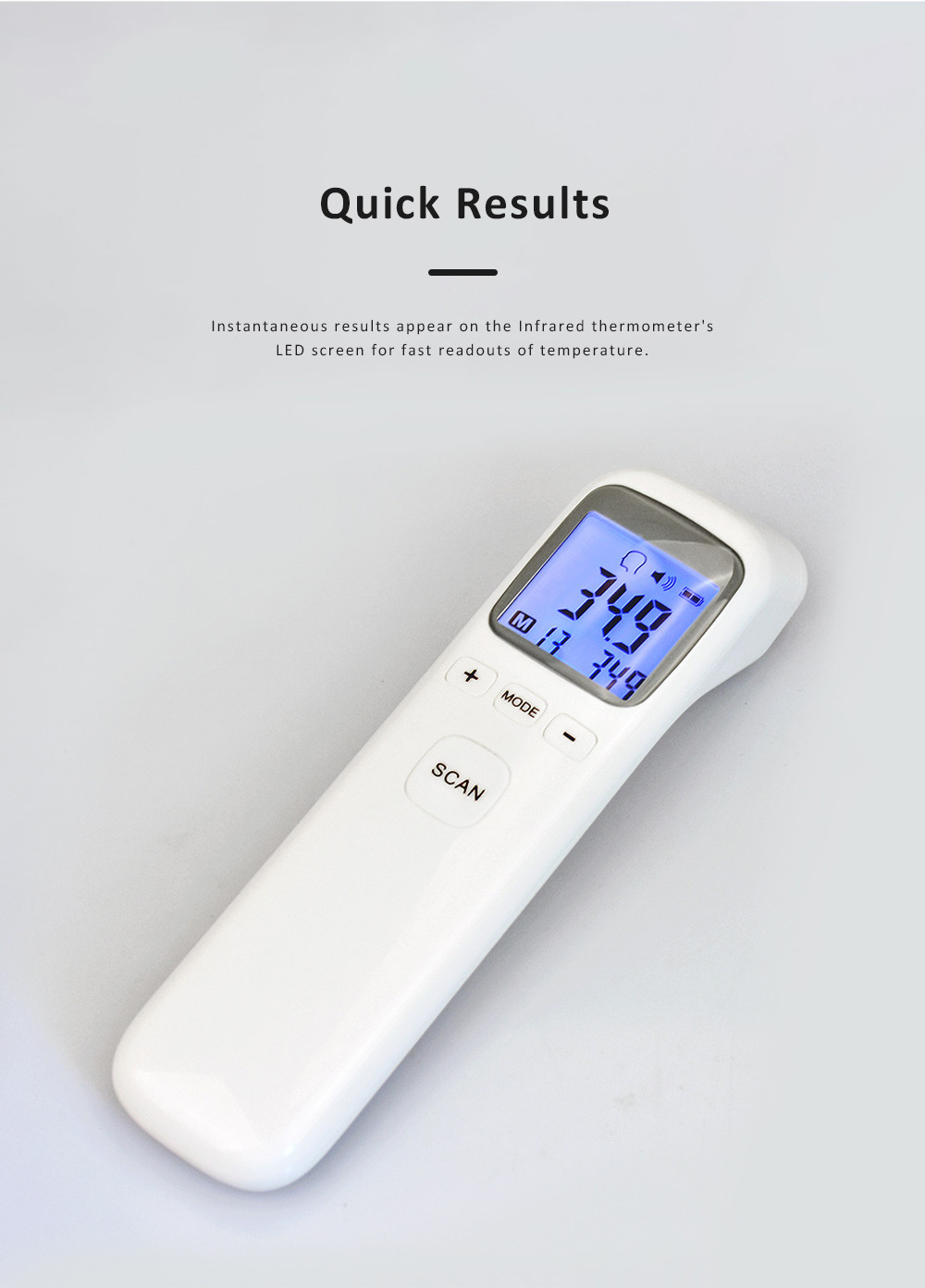 Digital Thermometer for Home Use Non-contact Laser Infrared IR Temperature Gun AA Battery Powered 4