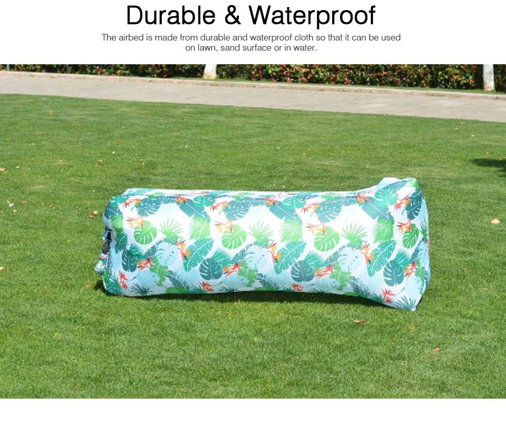 Leaf Pattern Printed Fast Inflatable Sofa Airbed for Outdoor Activity, Lazy Men Air Sofa Inflatable Couch Nap Airbed, Folded Portable Air Mattresses 3