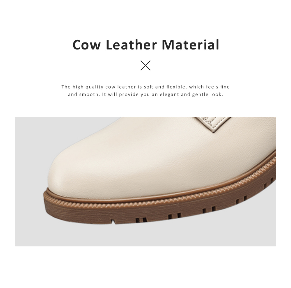 Leisure Leather Low Heel Shoes, Top PU Leather Material Thick Heel Shoes, Oxford Sole Women Shoes 2019 Spring 1