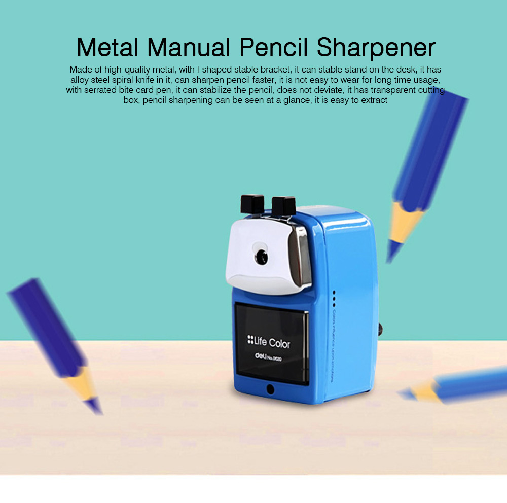 Hand Pencil Sharpener for kids, Metal Desk Office School Stationery Manual Pencil Sharpener 0