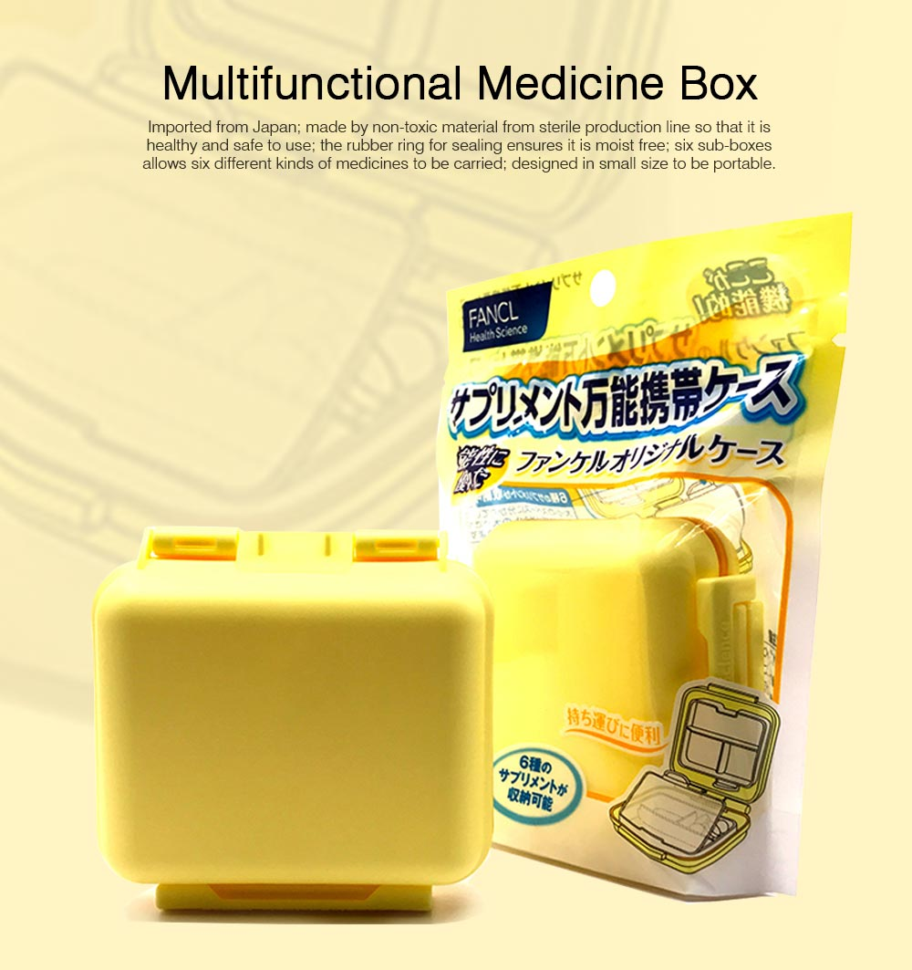 Weekly Pill Box with 6 Compartments, Waterproof Plastic Pill Organizer for Travel Use, Easy Carry Multifunctional Medicine Box 0