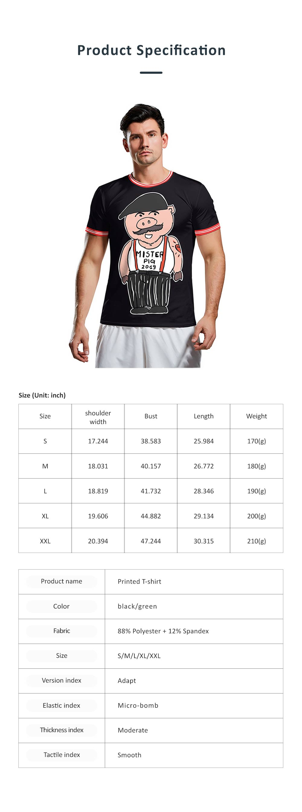 2019 New Sports Men's T-shirt, External Trade Fashionable Collarless Short Sleeve, Cartoon Printed Breathable Tees 6