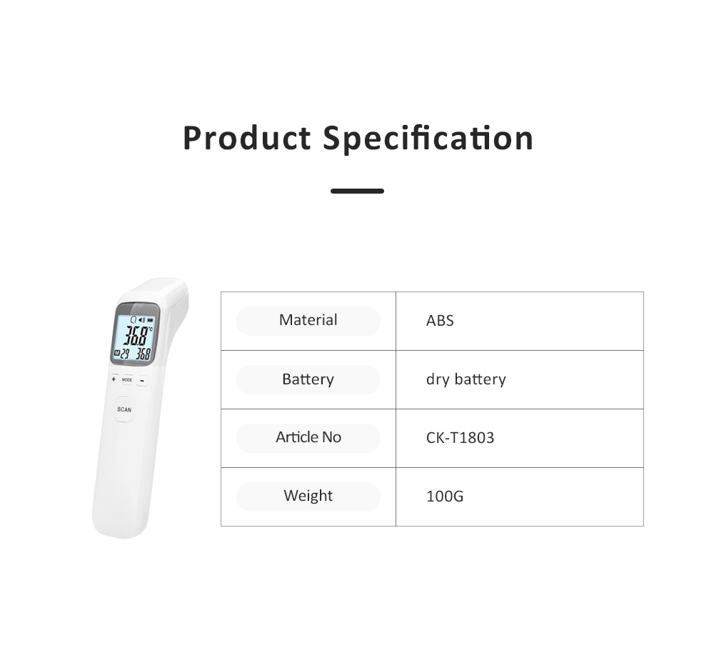 Digital Thermometer for Home Use Non-contact Laser Infrared IR Temperature Gun AA Battery Powered 5