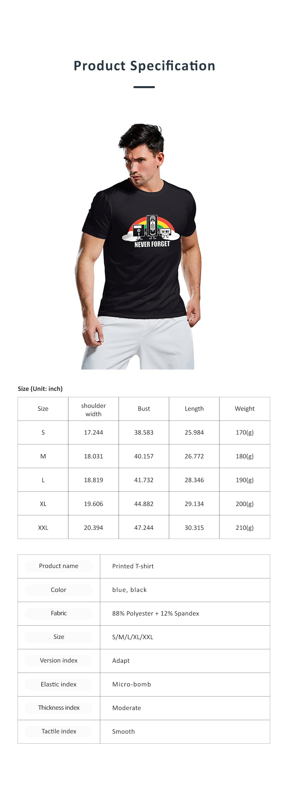 2019 Summer Casual T-shirt for Men, Fashionable European Collarless Style Large Size Short Sleeve Tees 6