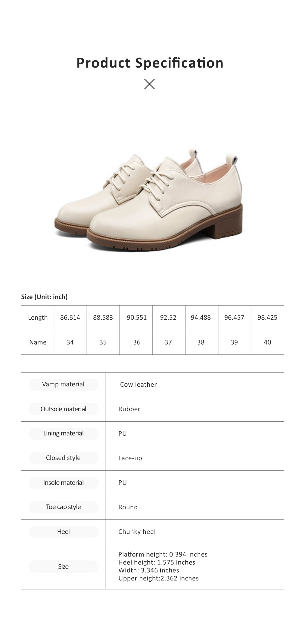 Leisure Leather Low Heel Shoes, Top PU Leather Material Thick Heel Shoes, Oxford Sole Women Shoes 2019 Spring 5
