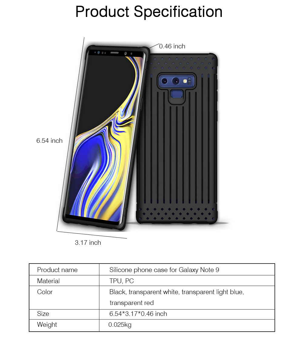 Transparent Phone Case for Galaxy Note 9, Soft Silicone Phone Protective Case Shell, Anti-smash Shockproof Cover 5