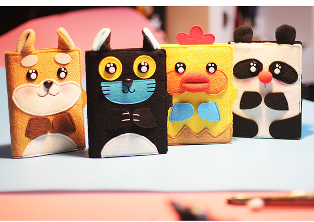 2019 Pet Animal Cover Notepads for Notebooks, Stationery Creative Korean Cartoon Notbook Cover with Pen Holder 1