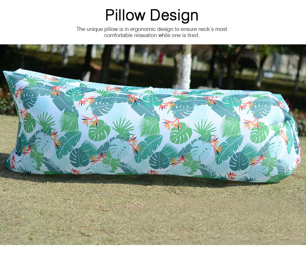 Leaf Pattern Printed Fast Inflatable Sofa Airbed for Outdoor Activity, Lazy Men Air Sofa Inflatable Couch Nap Airbed, Folded Portable Air Mattresses 4