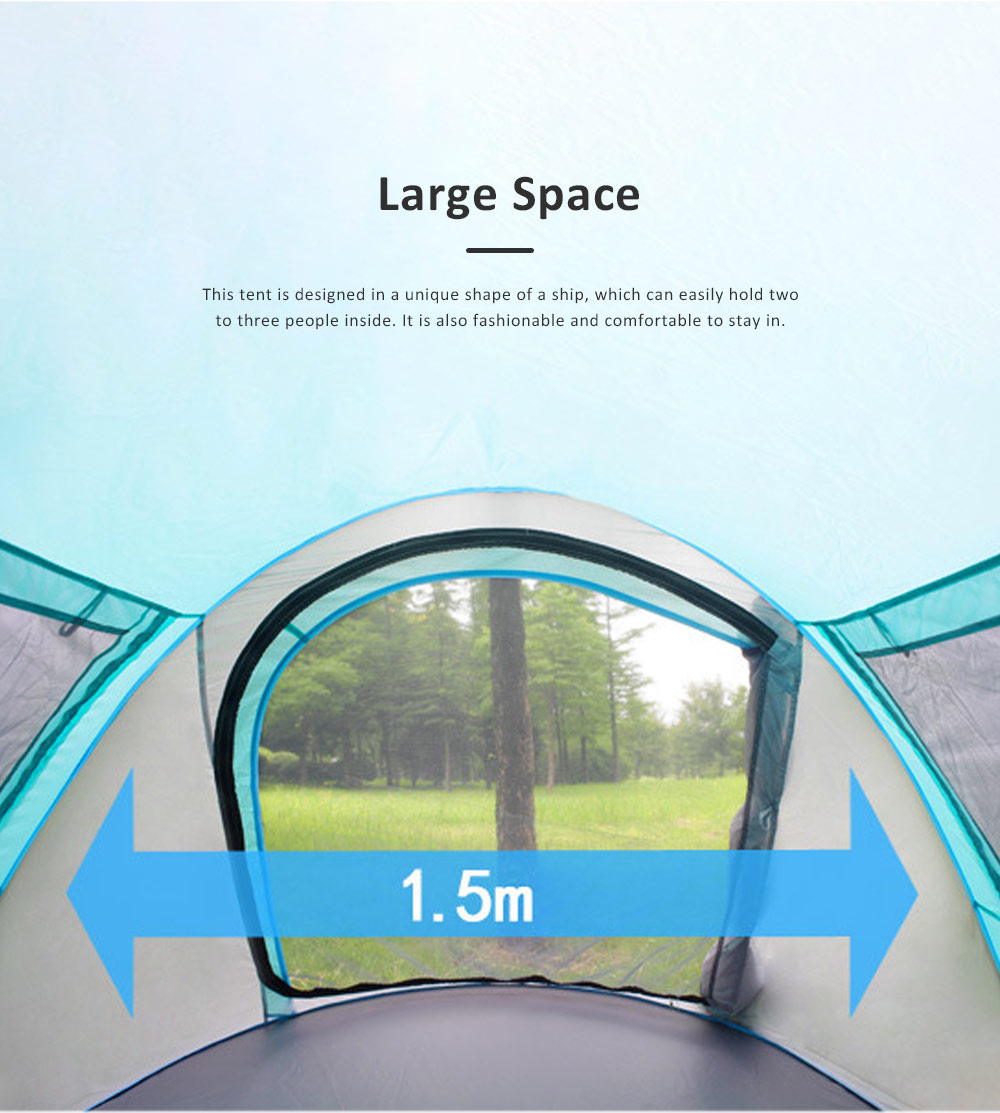 Full-automatic Quick Opening Tent with Two Doors Two Windows, Superior Sleeping Tent for Hiking Outdoor Activities, Two People Shelters 2