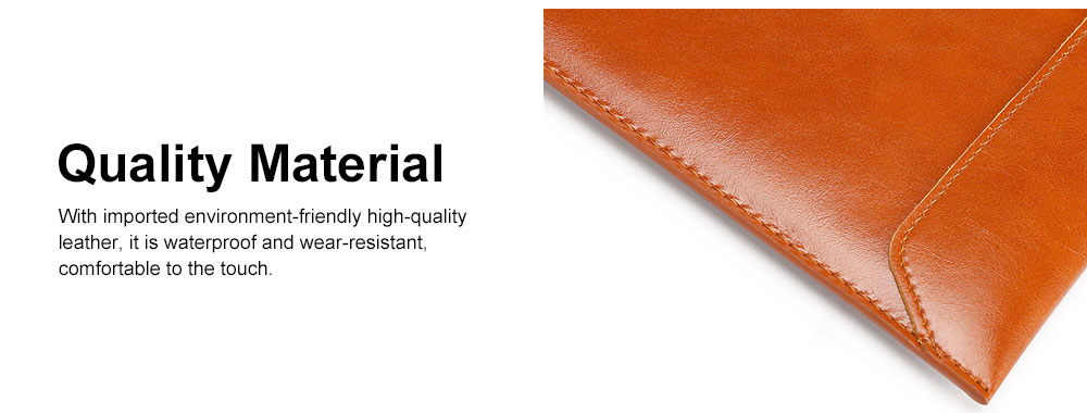 Stylish Lightweight Envelope-designed Leather Cover for Apple Macbook Pro Air, PU Leather Slim Laptop Bag 3