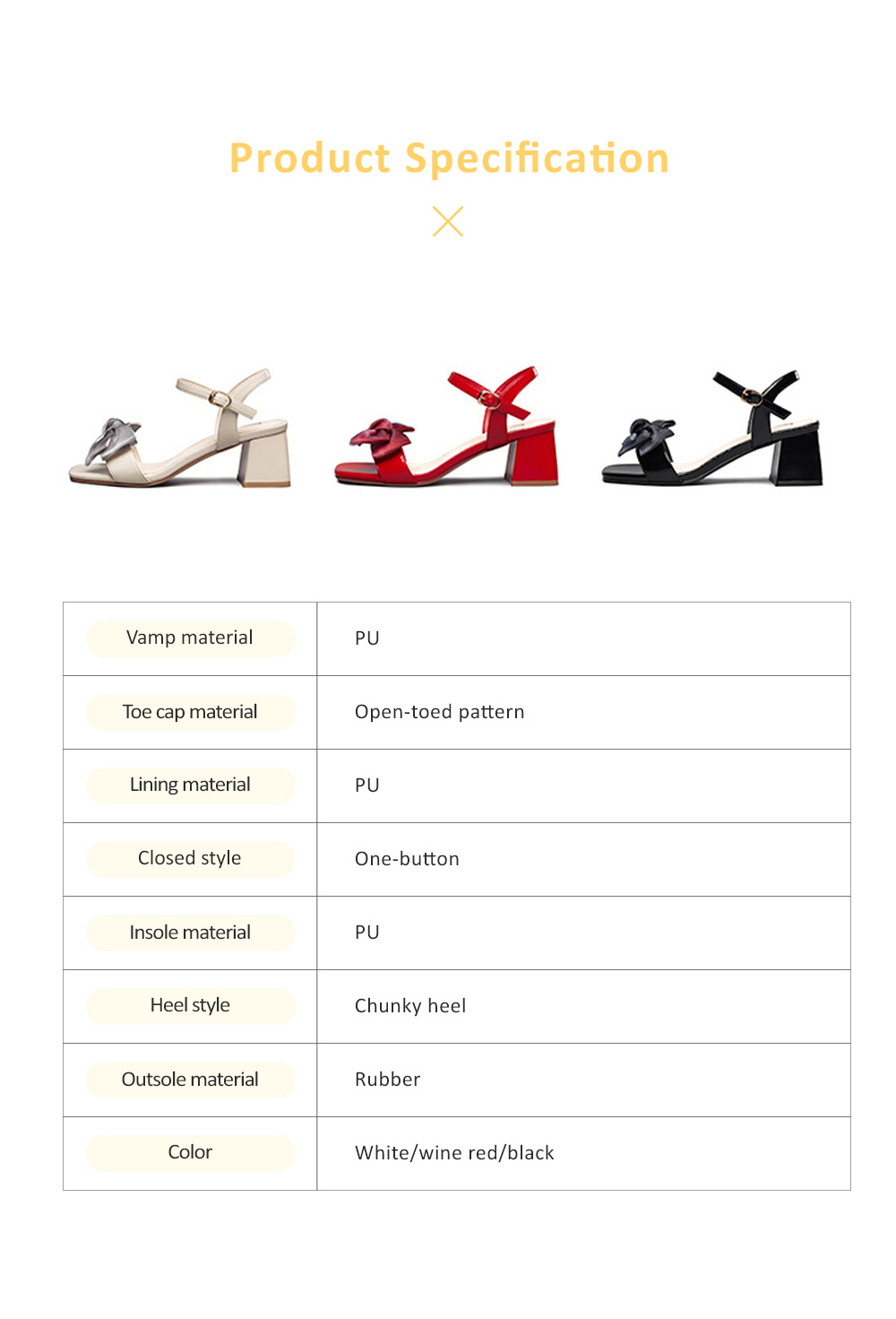 2019 Summer Thick Heel Shoes with  Sweet Bow, PU and Rubber Material Block High Heel Sandals for Shopping, Dating, Party, Holiday 5