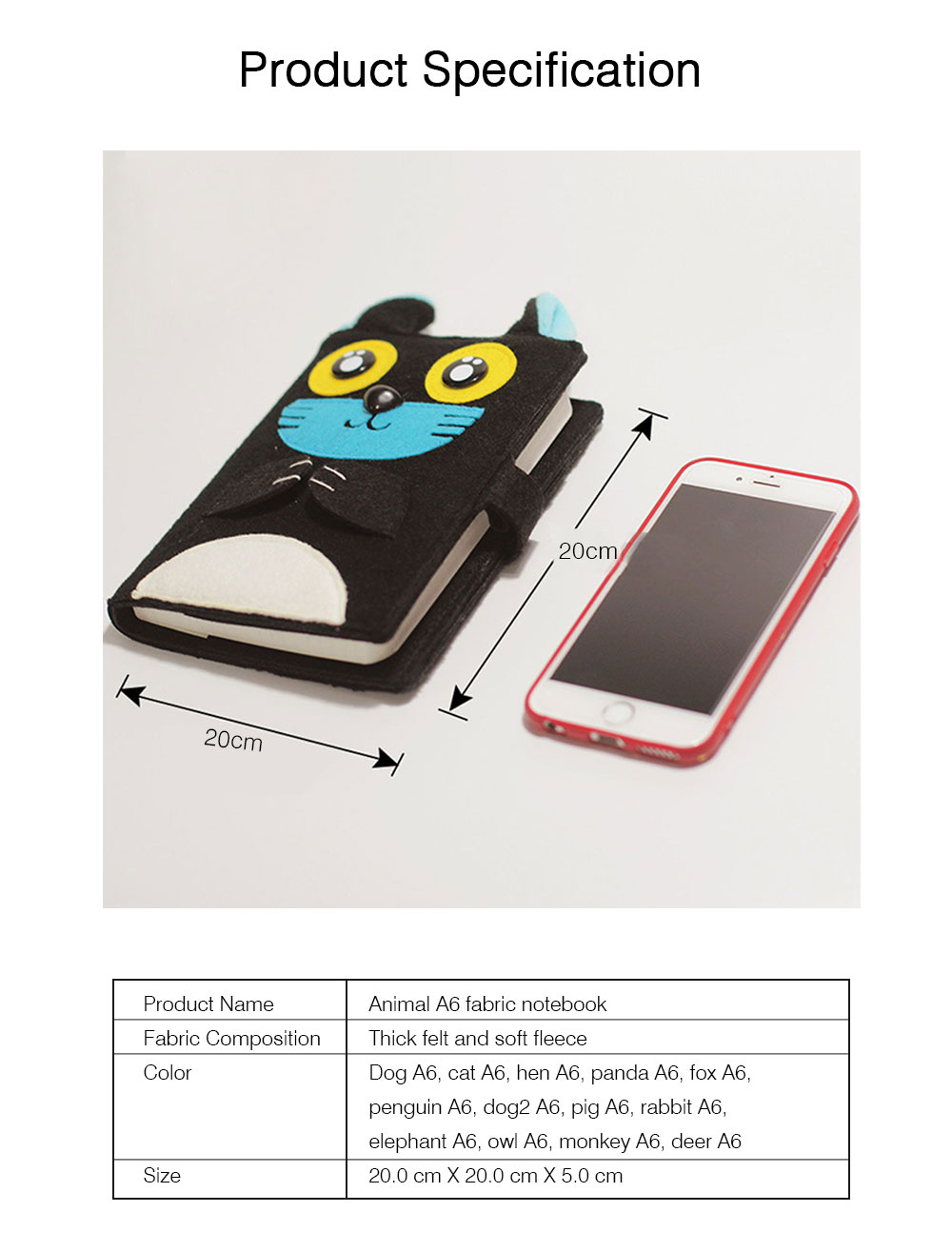 2019 Pet Animal Cover Notepads for Notebooks, Stationery Creative Korean Cartoon Notbook Cover with Pen Holder 12