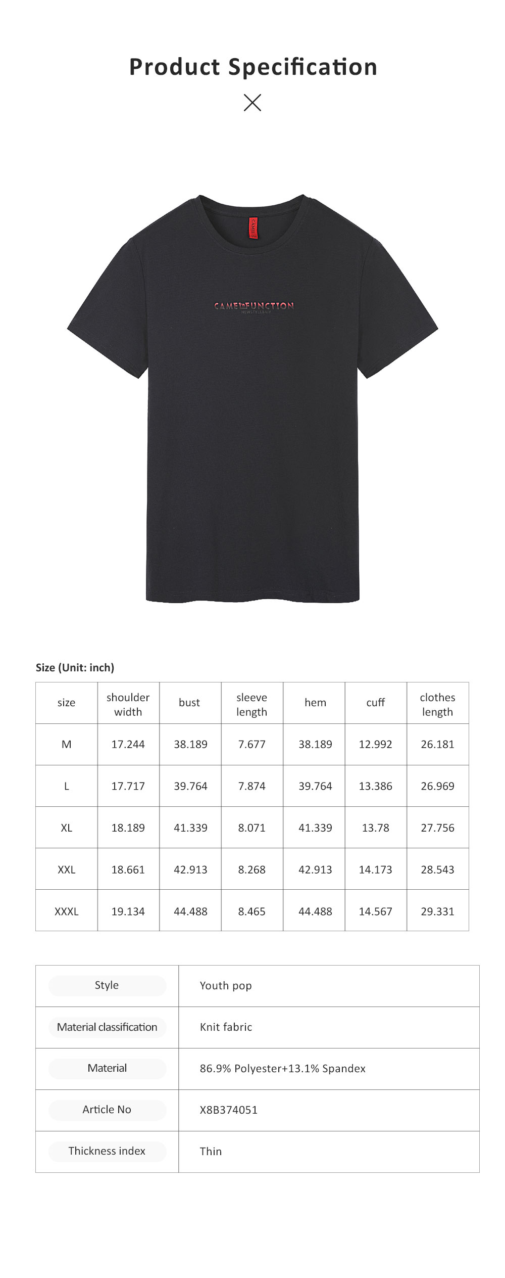 2019 Latest Concise Style Summer T-shirt for Men, High Quality Leisure Printing Round Collar Shirt for Youth 8