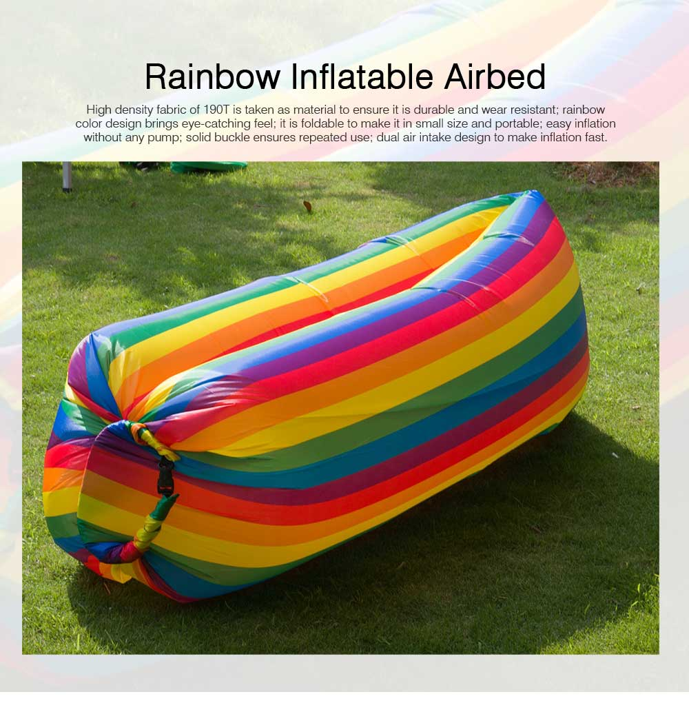 Ultralight Rainbow Color Design Airbed for Outdoor Activity, Portable Sleep Bag Inflatable Sofa, Foldable Airbed Air Sofa 0