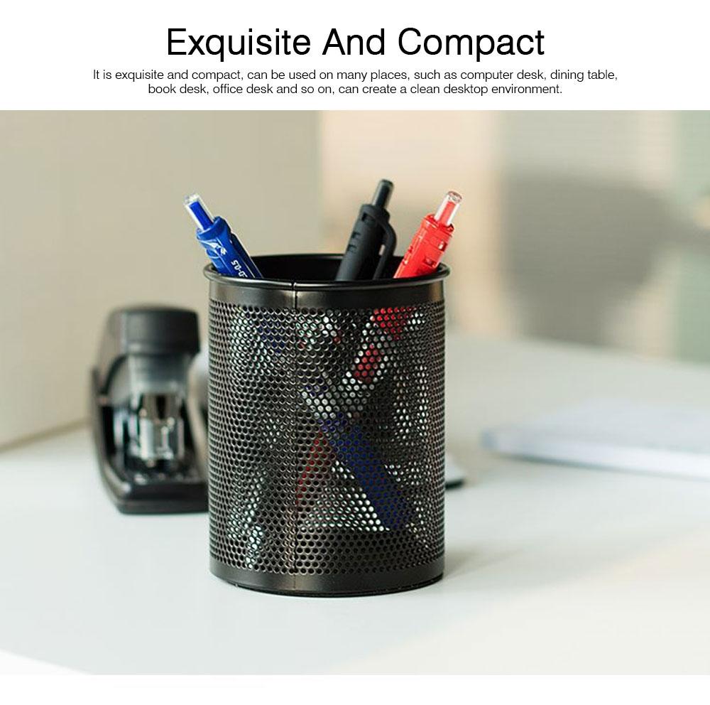 Creative Desk Desktop Table Pen Organizer, Black Round Dense Metal Wire Mesh Pencil Holder, Office School Supplies Pen Storage Box 1