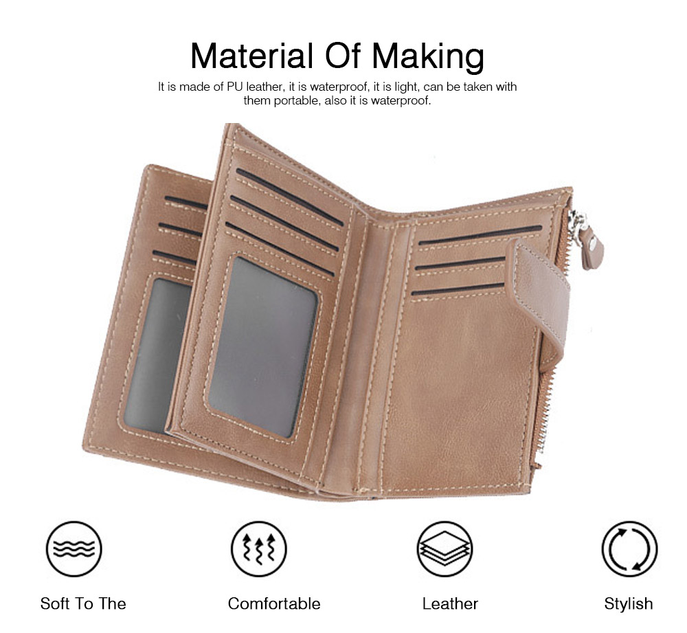 Trifold Business Leather Men's Wallet with Zipper, Multi-function Short Purse Slim Male Money Multi-card Positions Coin Leather Wallet for Men 5