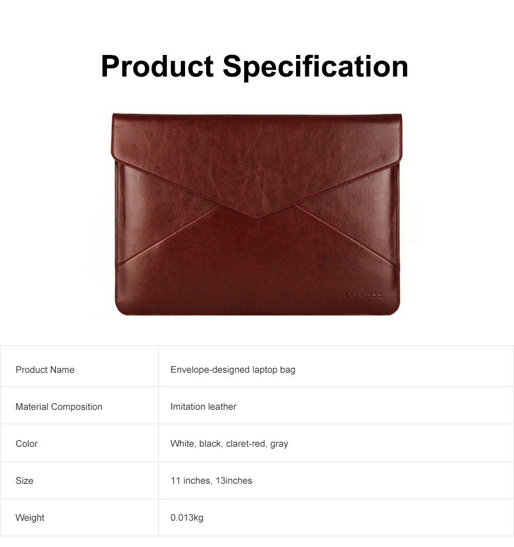 Stylish Lightweight Envelope-designed Leather Cover for Apple Macbook Pro Air, PU Leather Slim Laptop Bag 5