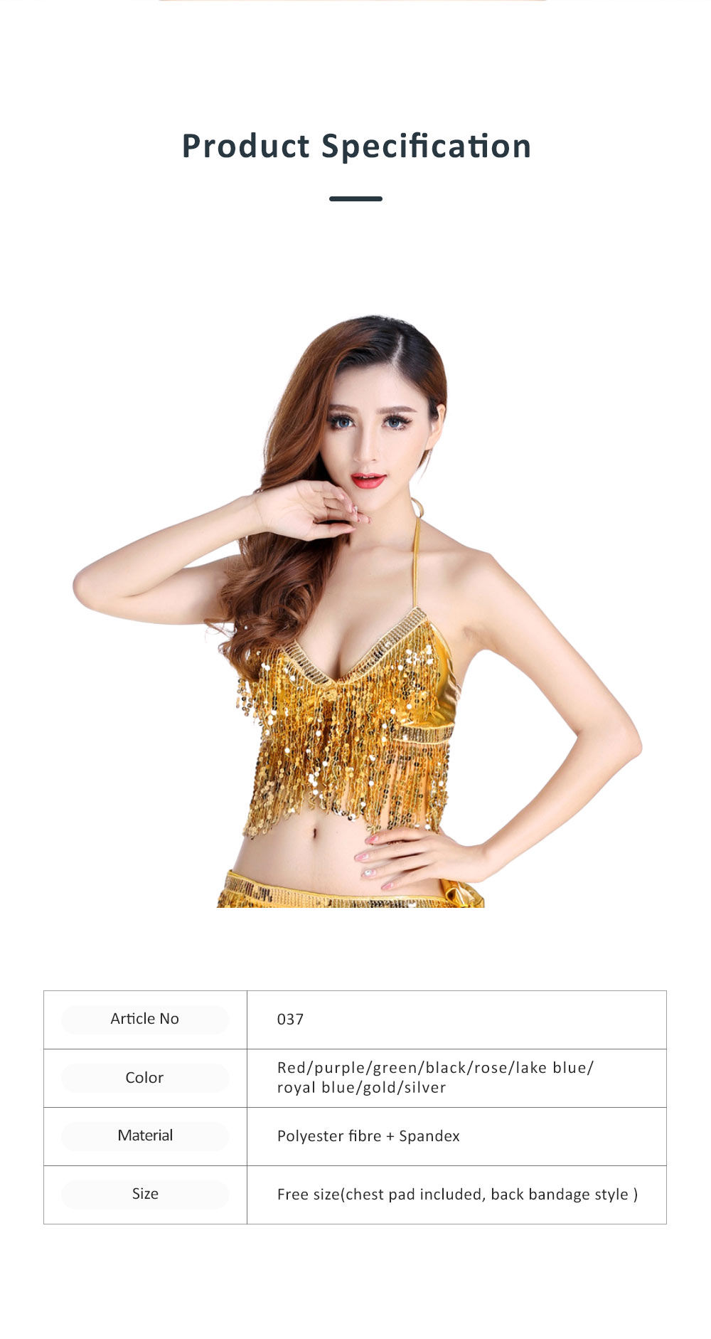 2019 Sexy Bar Performing Uniform Fringed Top with Paillette, Nine Colors Belly Dance Sexy V-neck Short Sling Pattern Camisole 6