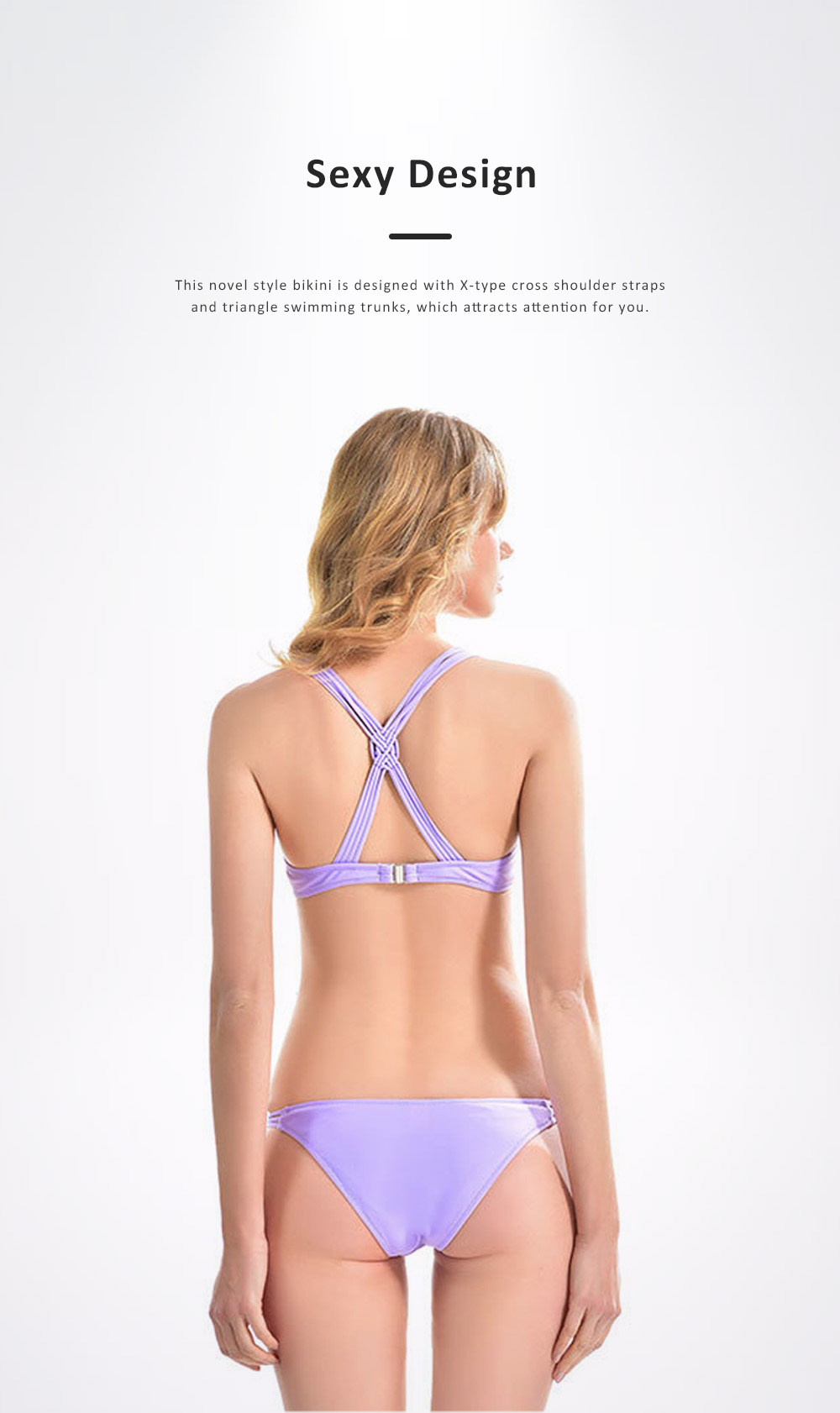 2019 Sexy Trim Fit Bikini for Young Girls, Light Purple Pure Sexy Split Design Swimwear Suit, Two-piece Separated Type Bikini 2