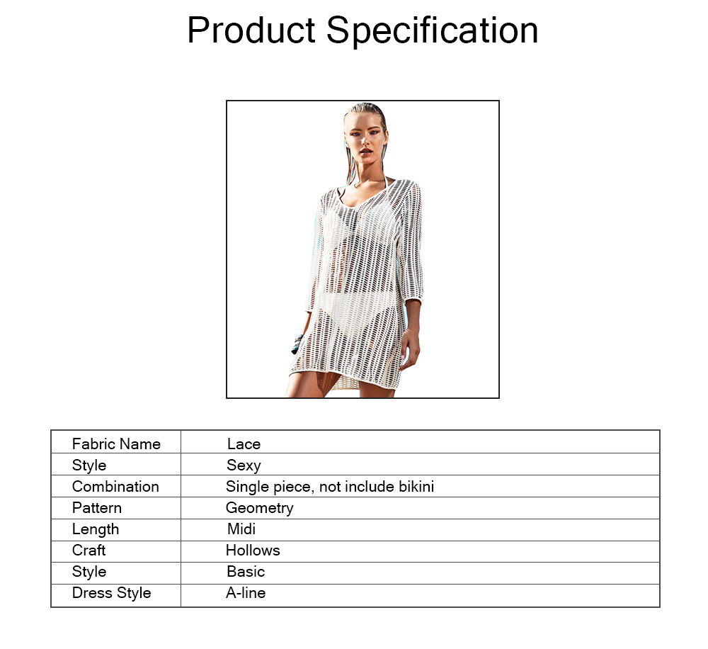 Beach Dress Hollows Outerwear for Swimsuit Bikini, Sun-proof Midi One-piece dress, Beach Wear Coat White 1 PCS 5