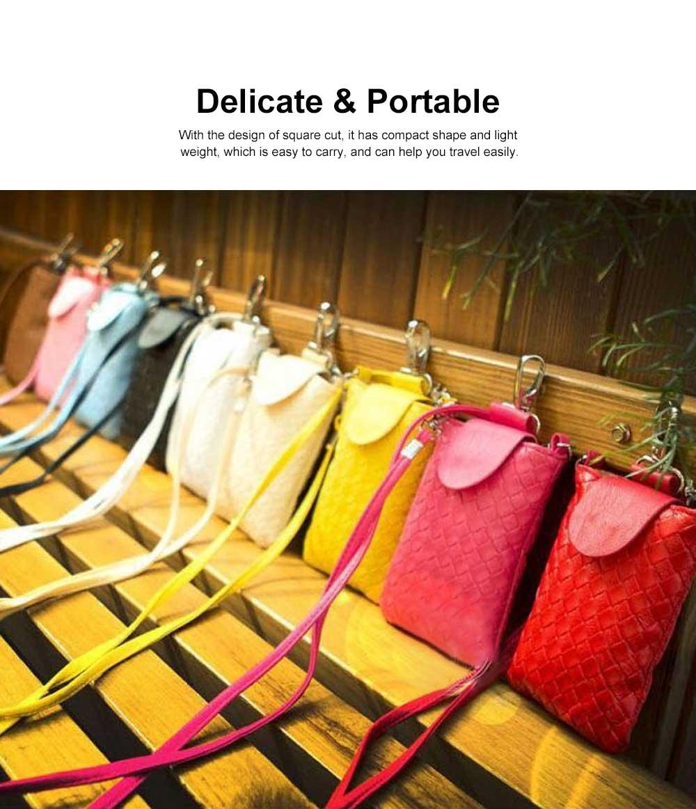 Mini Diagonal Mobile Phone Shoulder Bag, Woven PU Leather Small Slanting Bag for Phone, Cash, Card, Coins, Mini Casual Shoulder Bag 1