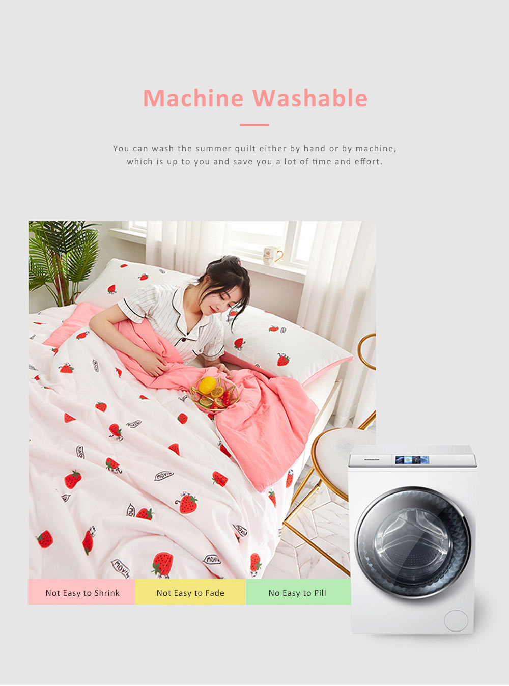Eco-friendly Printing Thin Quilt for Summer, Skin-friendly Polyester Material Cool Blanket 6