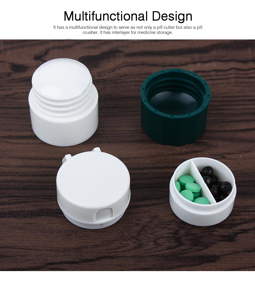 3 in 1 Multifunctional Tablet Cutter Medication Crusher with Small Pill Box Multi-function Pill Crusher Grinder Splitter 3
