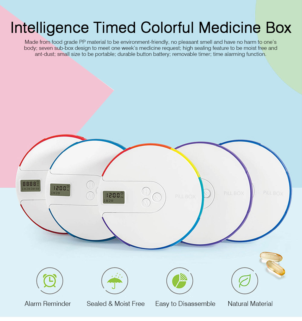 7 Days Digital Pill Box Mini Electronic Medication Organizer with Alerts, Easy Carry Alarm Reminder Pill Box, Digital Pill Organizer Alarm Reminder Pill Box 0