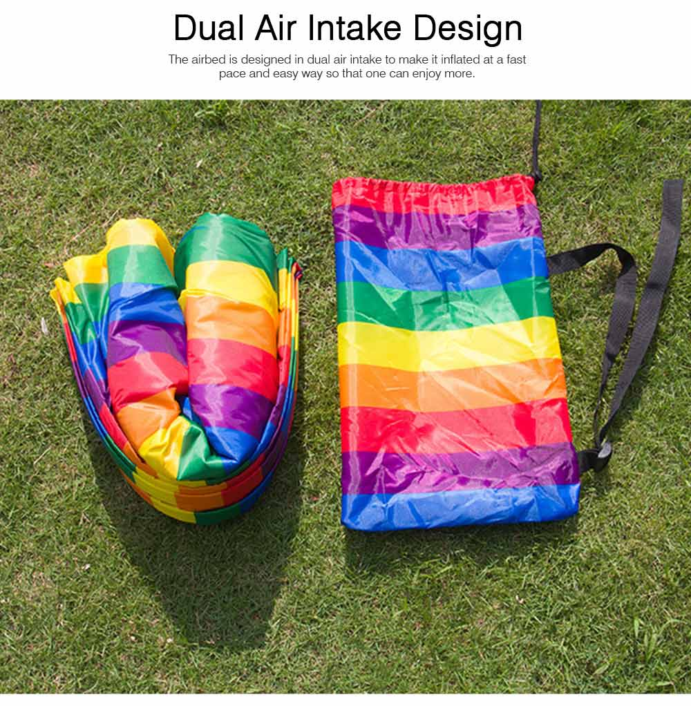 Ultralight Rainbow Color Design Airbed for Outdoor Activity, Portable Sleep Bag Inflatable Sofa, Foldable Airbed Air Sofa 1