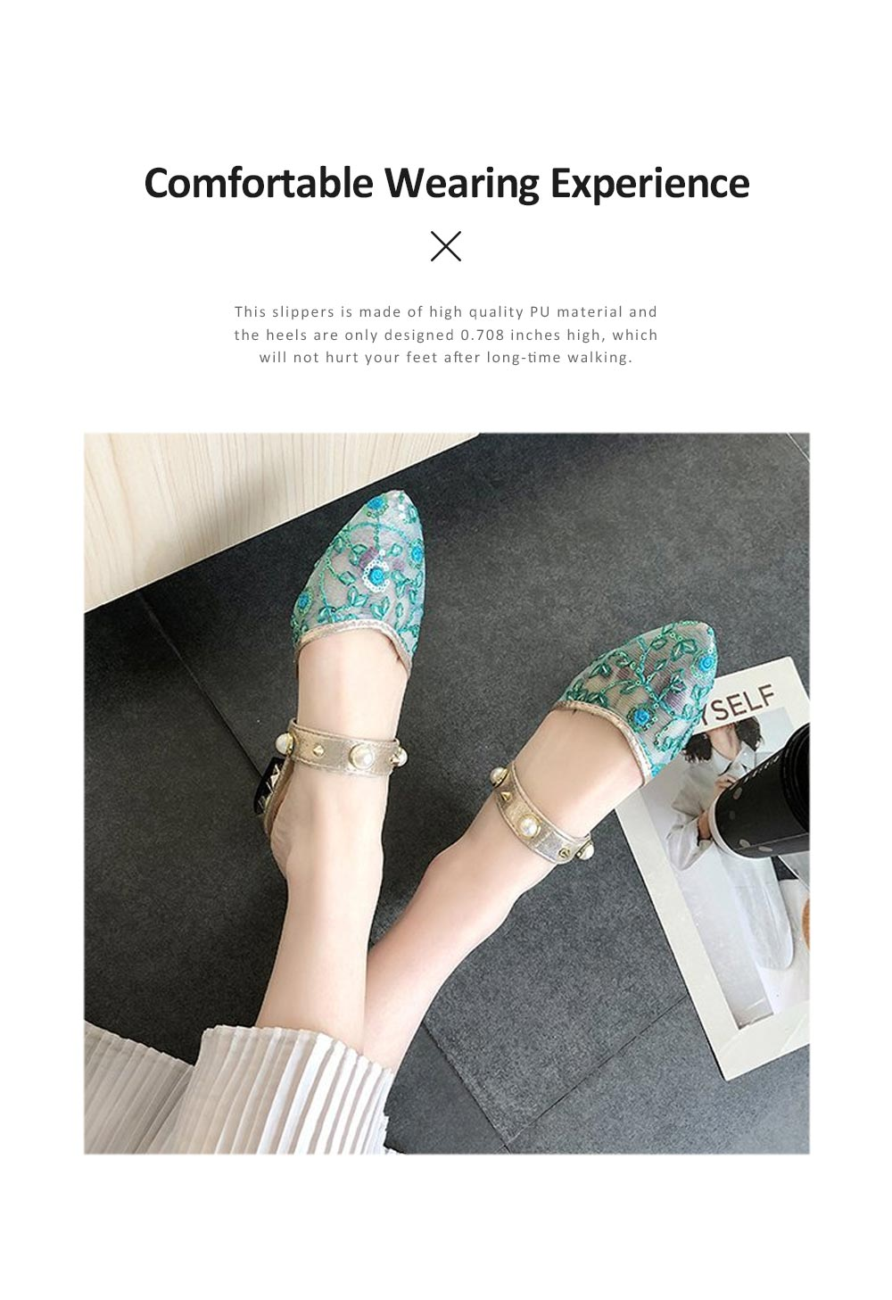 2019 Latest Style Elegant Sandals for Women, Rivet Pearl Decorating Hollow Casual Slippers 3