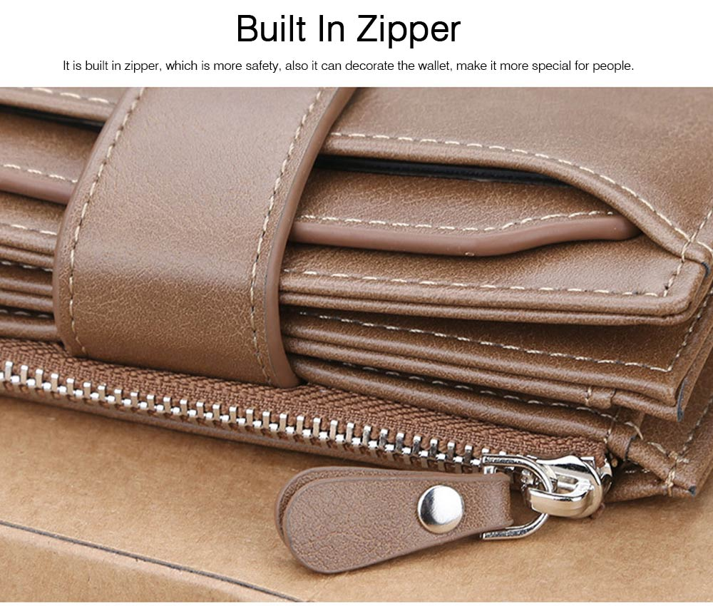 Trifold Business Leather Men's Wallet with Zipper, Multi-function Short Purse Slim Male Money Multi-card Positions Coin Leather Wallet for Men 3