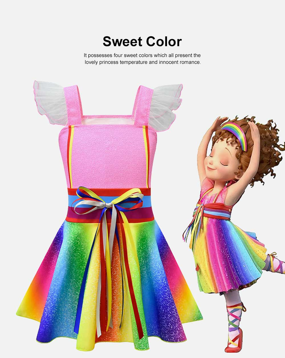2019 New Fancy Nancy Cosplay Dress for Kids, Rainbow-color Fairy Dress for Girl 1