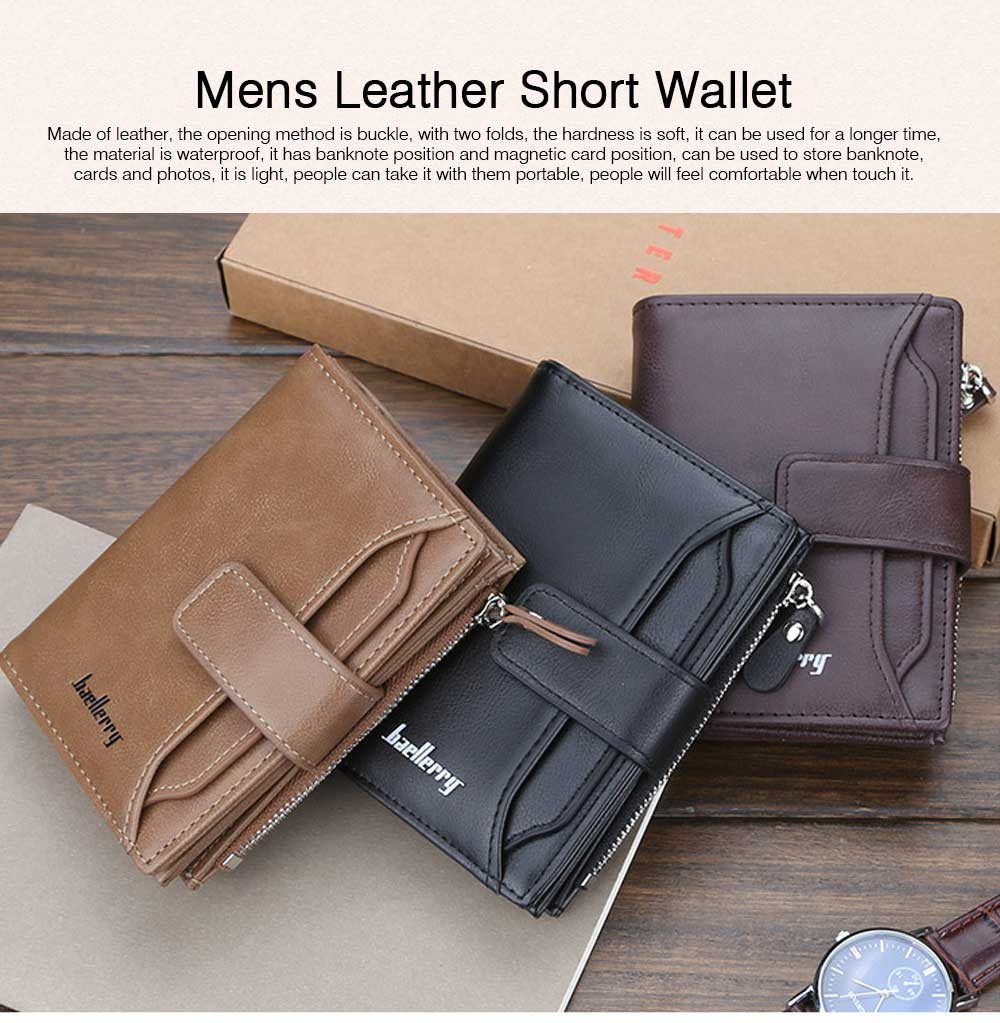 Trifold Business Leather Men's Wallet with Zipper, Multi-function Short Purse Slim Male Money Multi-card Positions Coin Leather Wallet for Men 0