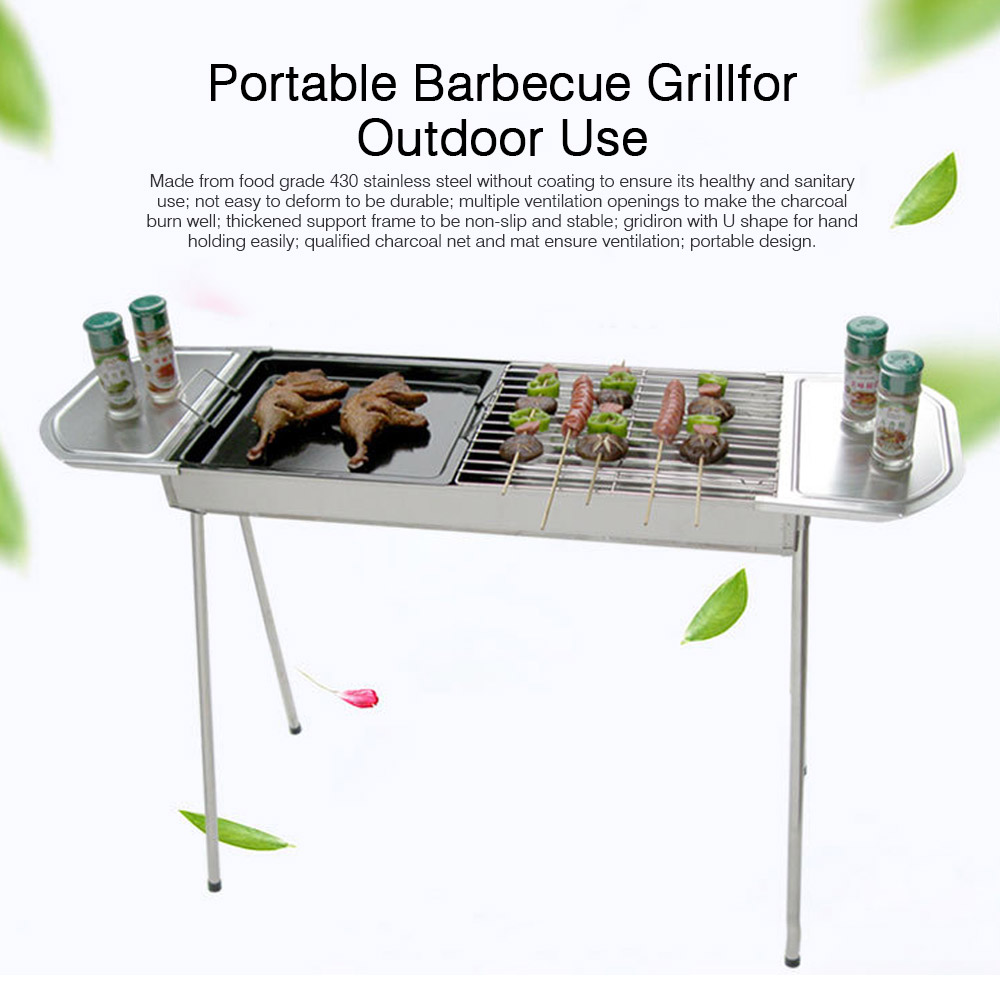 Portable Stainless Steel Barbecue Grill for Outdoor, Home BBQ Grill Set BBQ Grill, Charcoal Barbecue Grill Suit for 3 - 5 People 0