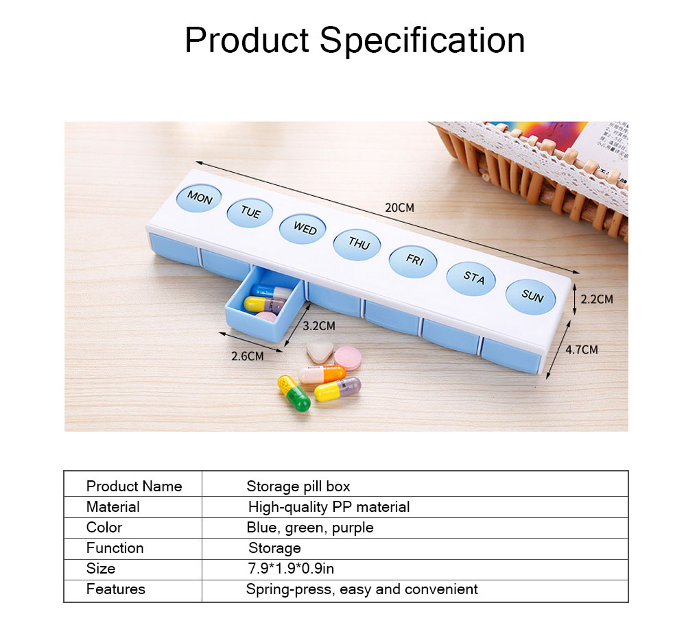 Mini Plastic Pill Box, Portable PP Material Pill Container with Spring for 7 Days, Small Storage Box with 7 Segmentations 8