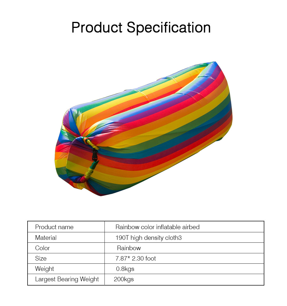 Ultralight Rainbow Color Design Airbed for Outdoor Activity, Portable Sleep Bag Inflatable Sofa, Foldable Airbed Air Sofa 7