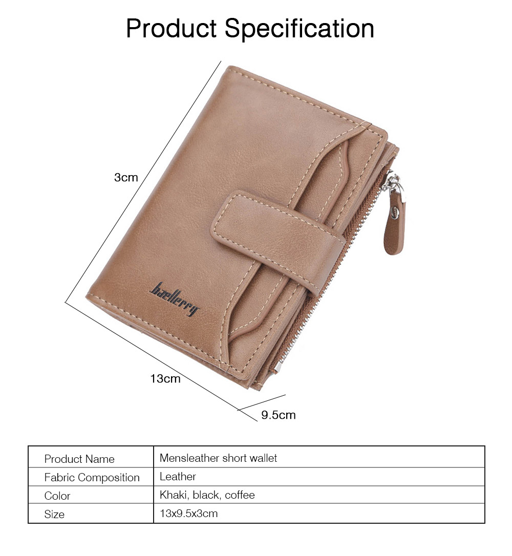 Trifold Business Leather Men's Wallet with Zipper, Multi-function Short Purse Slim Male Money Multi-card Positions Coin Leather Wallet for Men 8