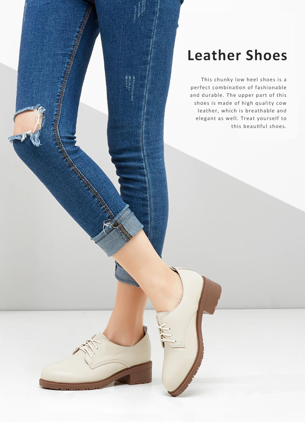 Leisure Leather Low Heel Shoes, Top PU Leather Material Thick Heel Shoes, Oxford Sole Women Shoes 2019 Spring 0