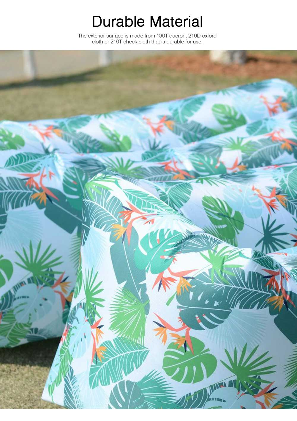Leaf Pattern Printed Fast Inflatable Sofa Airbed for Outdoor Activity, Lazy Men Air Sofa Inflatable Couch Nap Airbed, Folded Portable Air Mattresses 1