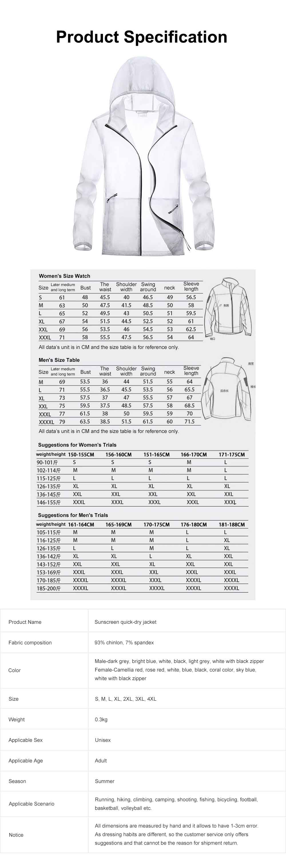 Couple Sunscreen Jacket for Lovers, Outdoor Sun Protective Skin Suit for Camping Running, Thin Quick Dry Clothing Top 7