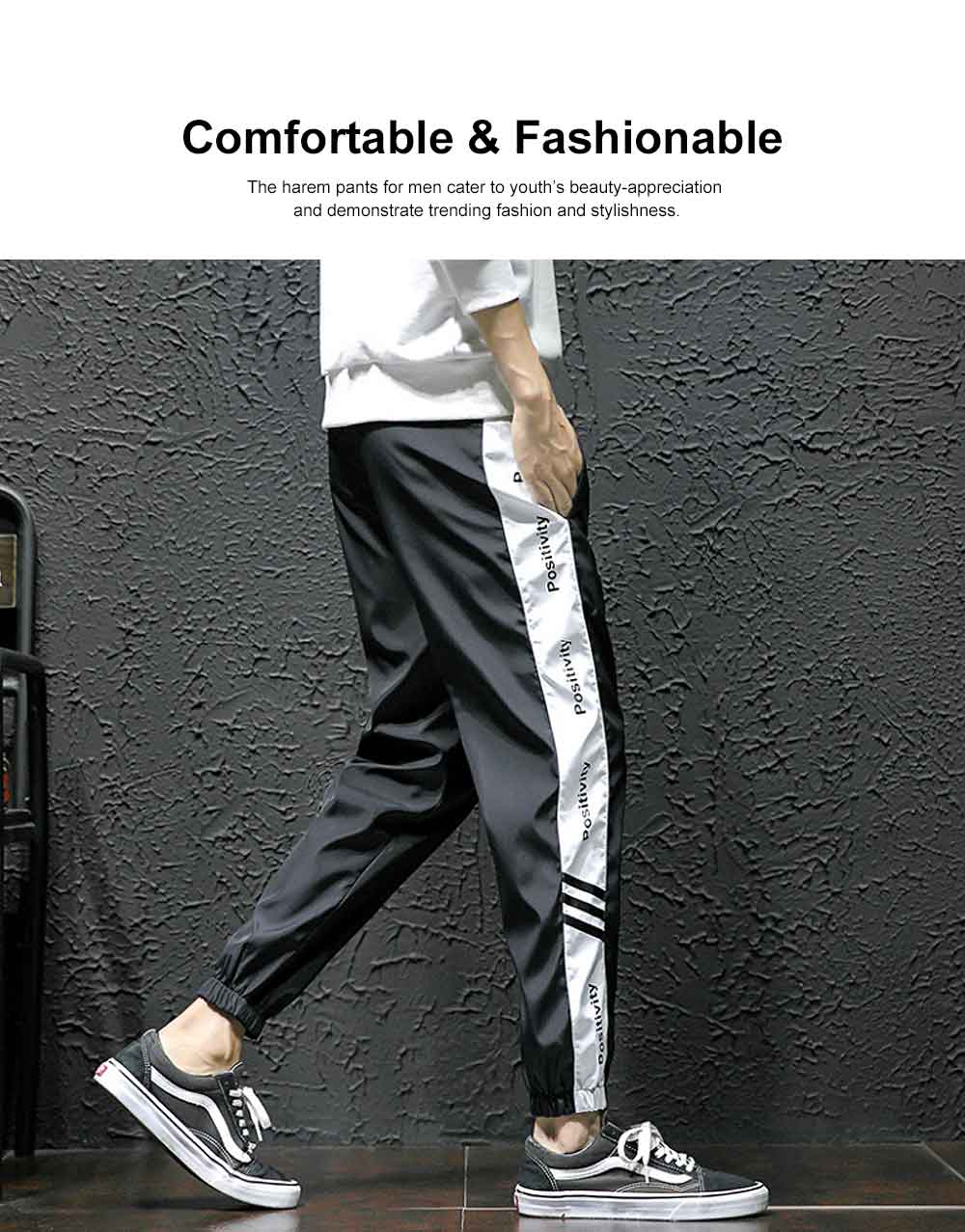 2019 Casual Harem Pants for Male Spring Summer, Mid-rised Slim-fit Pants for Man, Sports Slacks Men's Trousers 4