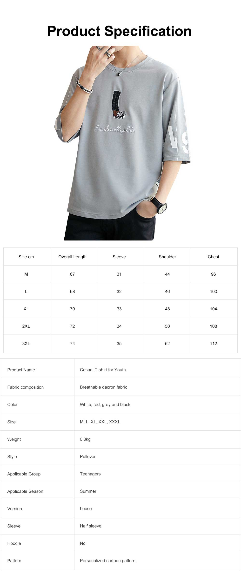 Short Sleeve Round Collar T-shirt for Male Wear Spring Summer, Loose Version Casual Style T-shirt with Cartoon Pattern, Students Men's Top 7