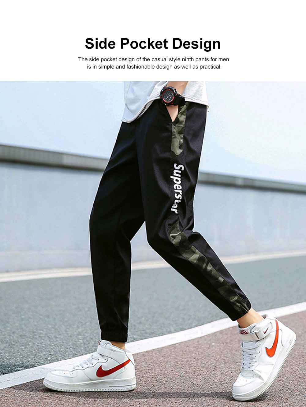 Casual Style Ninth Pants for Men's Summer Autumn, All-match Male Knickers Ankle-banded Pants for Students, Men's Sport Pants 1